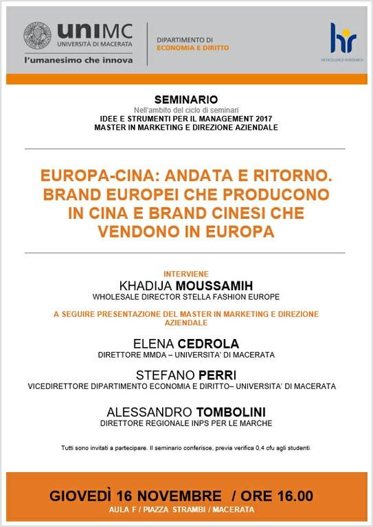 locandina EUROPA-CINA: ANDATA E RITORNO. BRAND EUROPEI CHE PRODUCONO IN CINA E BRAND CINESI CHE VENDONO IN EUROPA